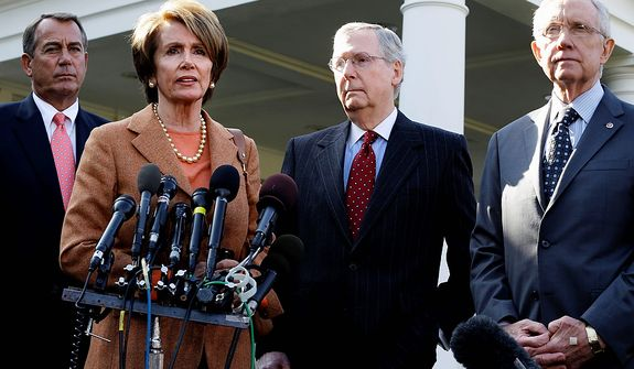 House Minority Leader Nancy Pelosi of Calif., second from left, accompanied by, from left, House Speaker John Boehner of Ohio, Senate Minority Leader Mitch McConnell of Ky., and Senate Majority Leader Harry Reid of Nev., speaks to reporters outside the White House in Washington, Friday, Nov. 16, 2012, following their meeting with President Barack Obama to discuss the economy and the deficit. (AP Photo/Jacquelyn Martin)