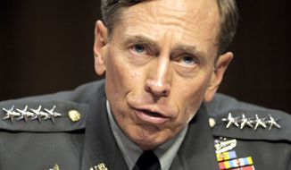 ** FILE ** In this June 23, 2011, file photo, then-CIA Director-designate Gen. David Petraeus testifies on Capitol Hill in Washington. Petraeus has resigned because of an extramarital affair. (AP Photo/Cliff Owen, File)