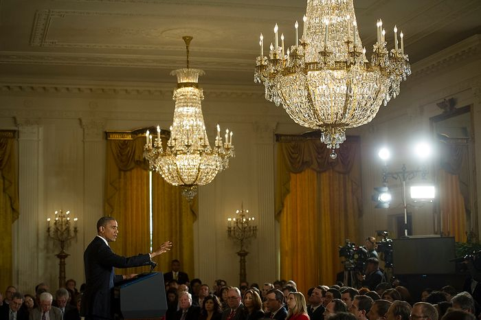 President Barack Obama responds to questions from reporters during a press conference in the East Room at The White House in Washington, D.C., Wednesday, Nov. 14, 2012. (Rod Lamkey Jr./The Washington Times)