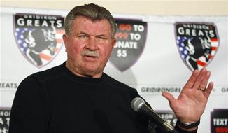 Former Chicago Bears coach Mike Ditka speaks at a news conference in Chicago, in this Oct. 27, 2009, file photo. (AP Photo/Kiichiro Sato, File)