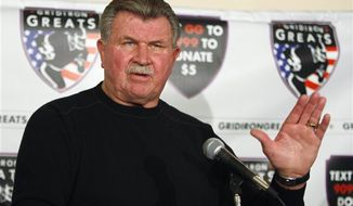 ** FILE ** In this Oct. 27, 2009, file photo, former Chicago Bears coach Mike Ditka speaks at a news conference in Chicago. ESPN producer Seth Markman says Ditka suffered a minor stroke Friday, Nov. 16, 2012. (AP Photo/Kiichiro Sato, File)