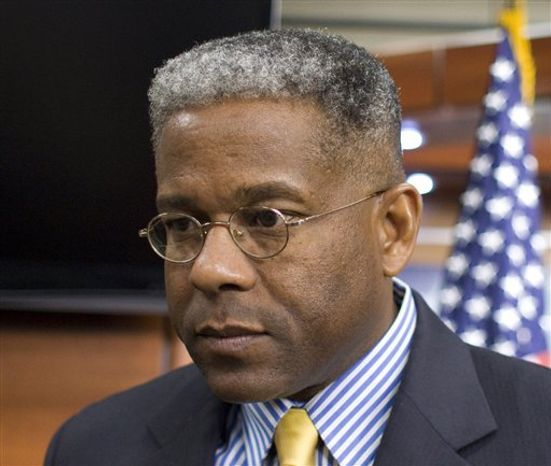 **FILE** Rep. Allen West, Florida Republican, is seen here during an Oct. 4, 2011, news conference on Capitol Hill in Washington. (Associated Press)