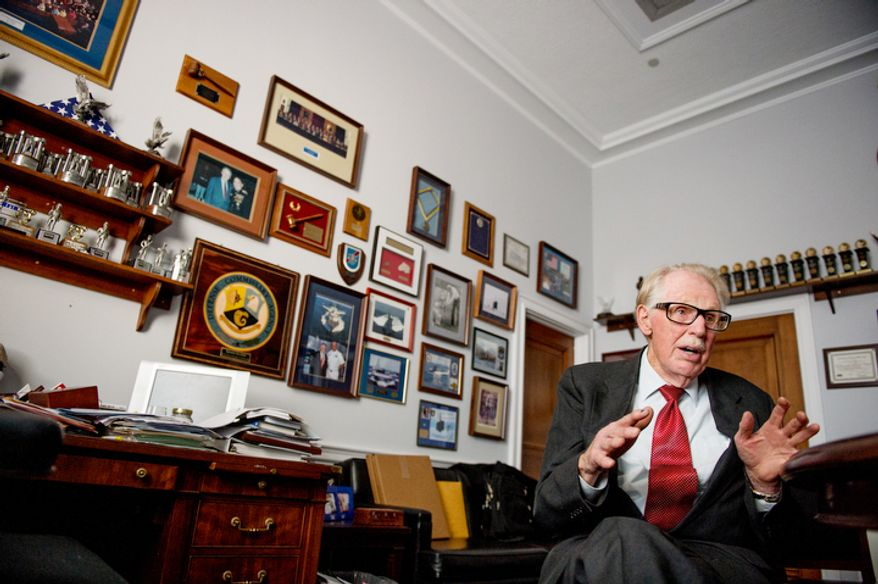 Rep. Roscoe Bartlett (R-Md.) speaks during an interview at his Capitol Hill office in the Rayburn Office building. (Andrew Harnik/The Washington Times)