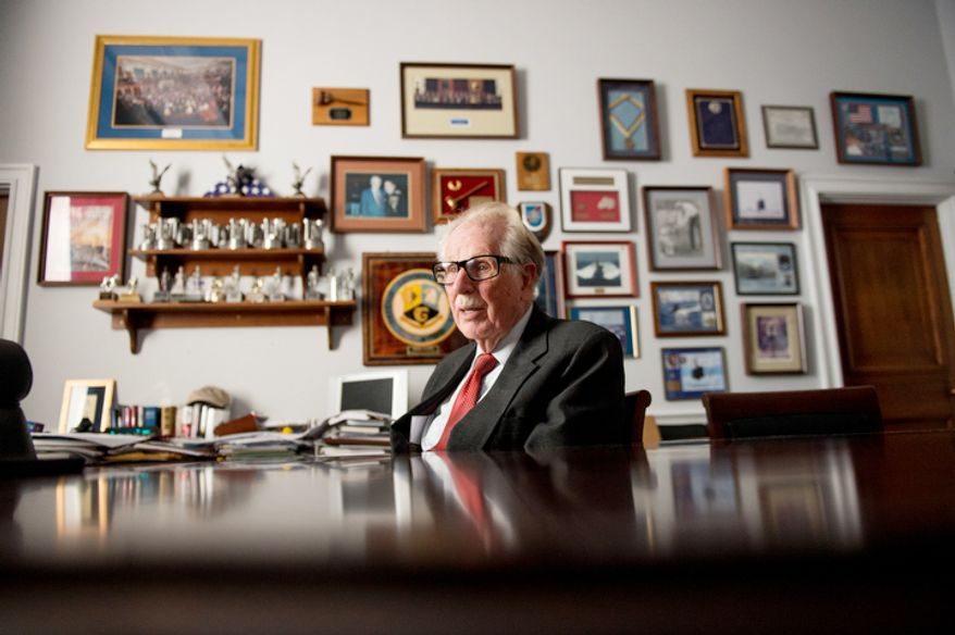 Rep. Roscoe Bartlett (R-Md.) speaks during an interview at his Capitol Hill office in the Rayburn Office building, Washington, D.C. (Andrew Harnik/The Washington Times)