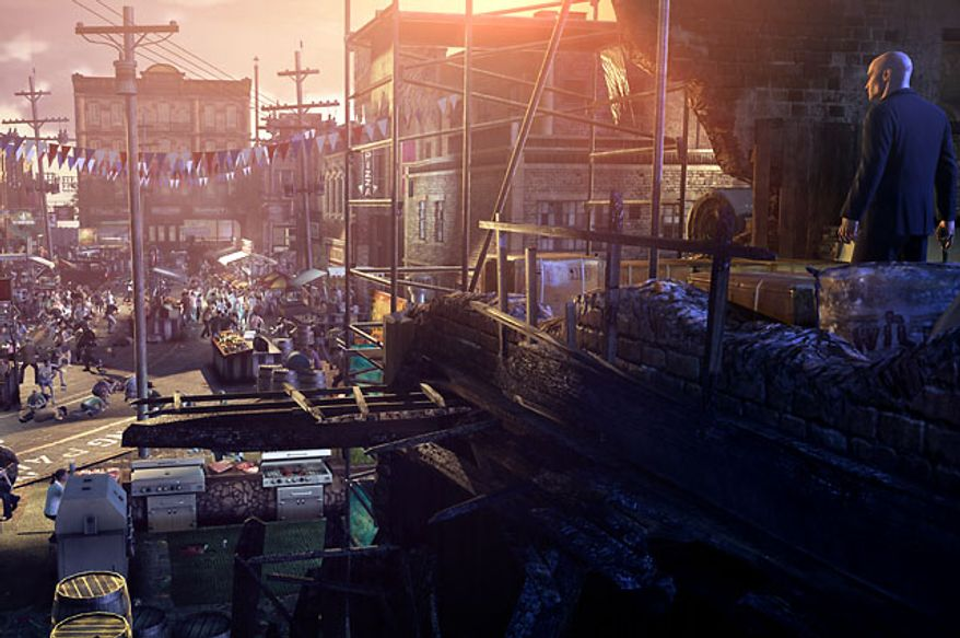 The video game Hitman: Absolution features crowds and large environmnets for Agent 47 to interact with.