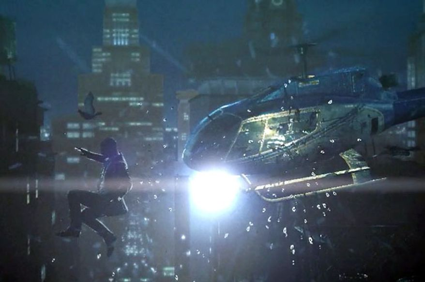 One of the cinematic moments from the video game Hitman: Absolution.