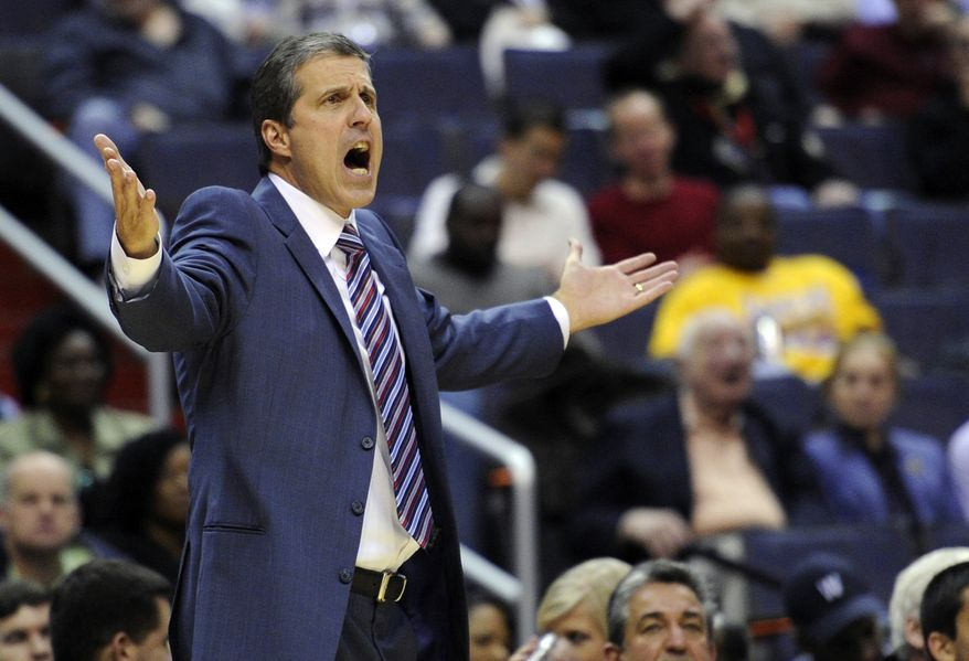 Washington Wizards head coach Randy Wittman gestures during the second half of an NBA basketball game against the Utah Jazz, Saturday, Nov. 17, 2012, in Washington. The Jazz won 83-76. (AP Photo/Nick Wass)