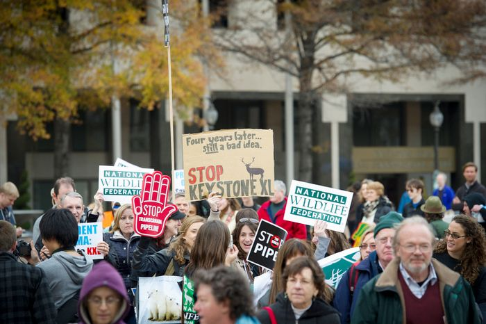 People march from Freedom Plaza en route to The White House to protest the Keystone Pipeline, in Washington, D.C., Sunday, Nov. 18, 2012. (Rod Lamkey Jr./The Washington Times)