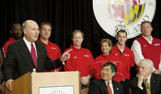 Big Ten Commissioner James E. Delany offers remarks during a press conference to announce the University of Maryland's joining the Big Ten Conference, at the University of Maryland in College Park, Md., Monday, Nov. 19, 2012. (Rod Lamkey Jr./The Washington Times)
