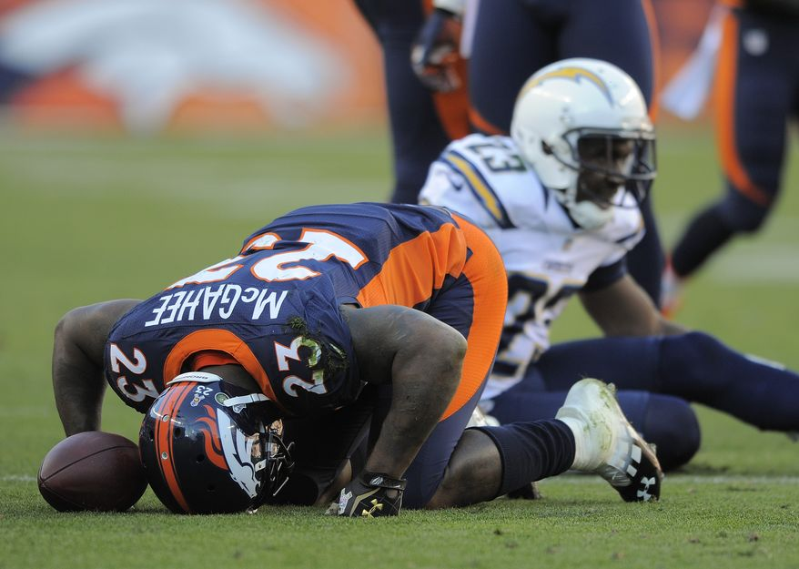 Denver Broncos running back Willis McGahee (23) is slow to get up after a run against the San Diego Chargers in the second quarter of an NFL football game, Sunday, Nov. 18, 2012, in Denver. McGahee left the game. (AP Photo/Jack Dempsey)