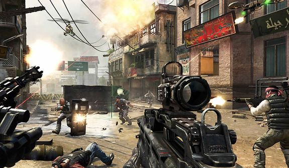 "** FILE ** A typical firefight in the game ""Call of Duty: Black Ops 2."""