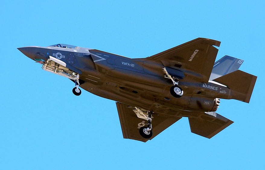 The first F-35B fighter jet attached to Marine Fighter Attack Squadron 121 arrives at Marine Corps Air Station Yuma in Yuma, Ariz., on Nov. 16, 2012. (Associated Press/The Yuma Sun, Craig Fry) **FILE**