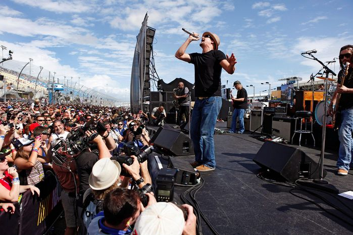 **FILE** Kid Rock sings before the NASCAR Sprint Cup Series auto race at Homestead-Miami Speedway in Homestead, Fla., on Nov. 18, 2012. (Associated Press/The Miami Herald)