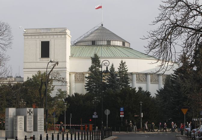 The exterior of Poland's Parliament in Warsaw is seen here on Nov. 20, 2012. Authorities arrested a 45-year-old chemist who was planning to detonate some four tons of explosives in front of the building while President Bronislaw Komorowski, Prime Minister Donald Tusk, Cabinet members and lawmakers were inside. (Associated Press)