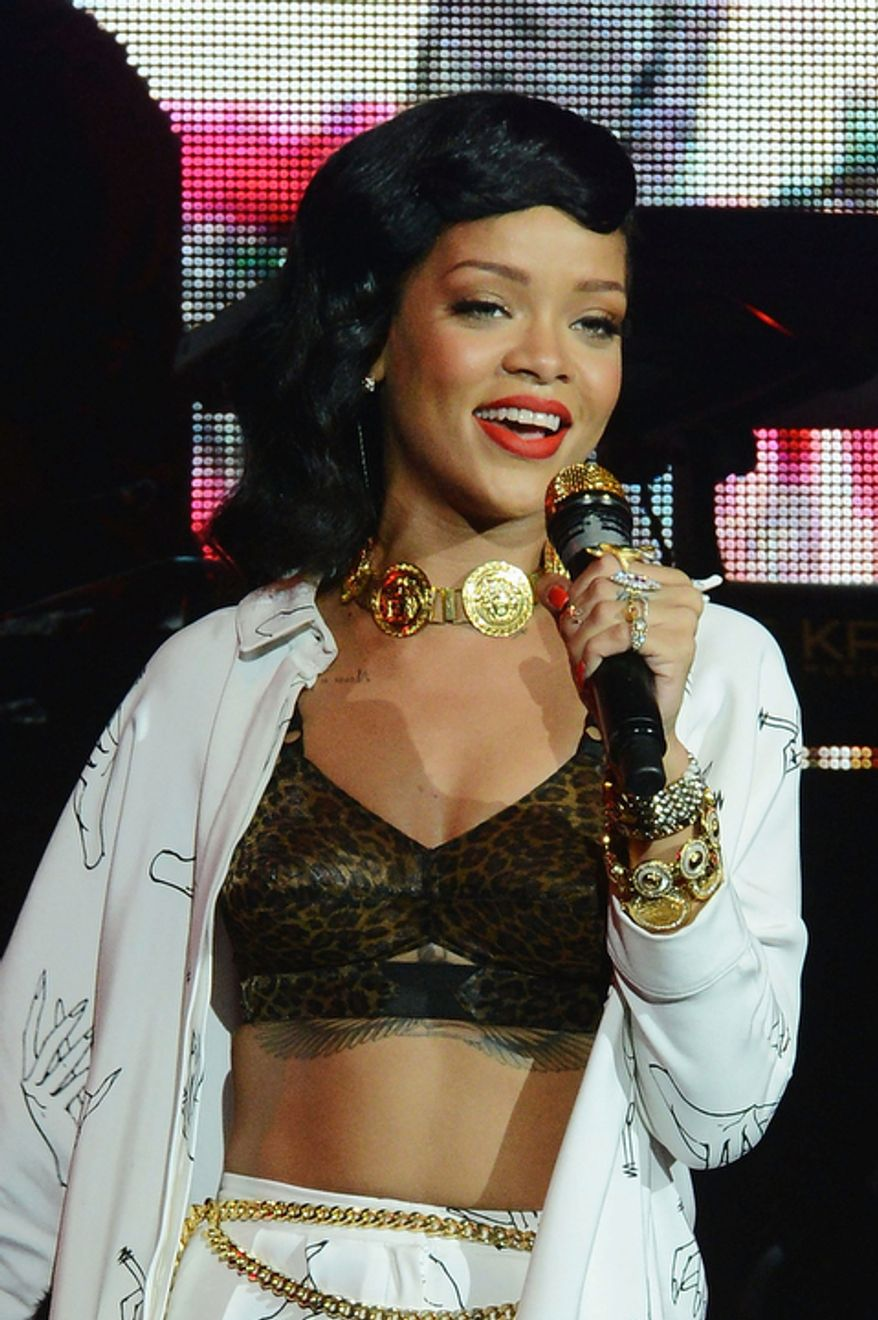"Rihanna performs in London at the Kentish Town Forum on Nov. 19, 2012, during her ""777"" tour. (Jon Furniss/Invision/Associated Press)"