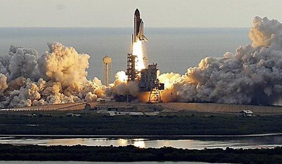 Space shuttle Endeavour clears the launch pad at Cape Canaveral, Fla., on Monday, May 16, 2011.  (AP Photo/Chris O'Meara)