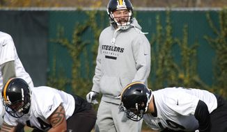 Veteran backup Pittsburgh Steelers quarterback Charlie Batch (16) lines up to take a snap during the NFL football team's practice on Wednesday, Nov. 14, 2012, in Pittsburgh. Batch will backup Byron Leftwich, who will start Sunday's game against the Baltimore Ravens in place of the injured Ben Roethlisberger. Roethlisberger said he dislocated a rib as well as getting the sprained SC joint in his shoulder when he was sacked in the third quarter of the game against Kansas City. Roethlisberger said the rib issue is a bigger concern. (AP Photo/Keith Srakocic)