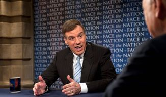 "**FILE** Sen. Mark Warner, Virginia Democrat, speaks on CBS' ""Face the Nation"" in Washington on April 17, 2011. (Associated Press/CBS News)"