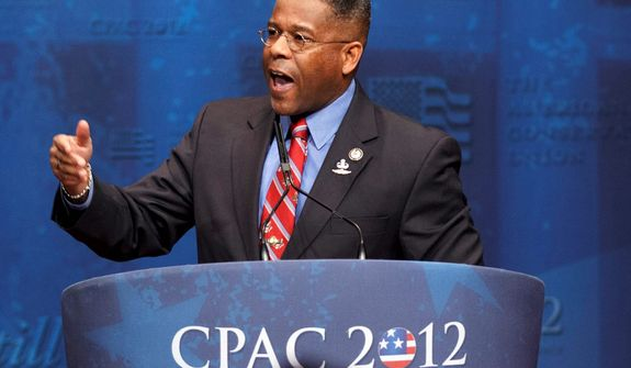 ** FILE ** Then-Rep. Allen B. West, Florida Republican, speaks on Feb. 10, 2012, at the Conservative Political Action Conference in Washington. (Associated Press)