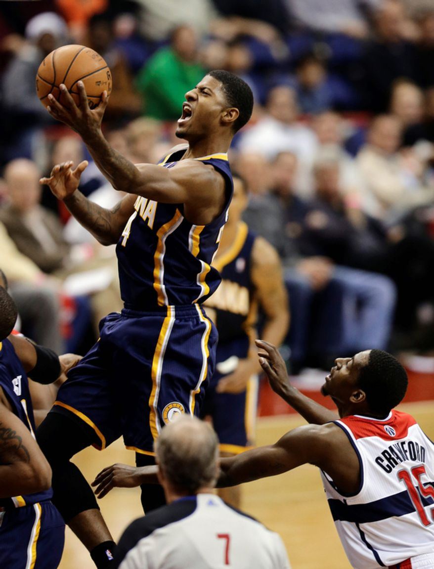 Indiana Pacers forward Paul George drives to the basket during the second half of the Pacers' 96-89 road win on Nov. 19, 2012. (Associated Press)