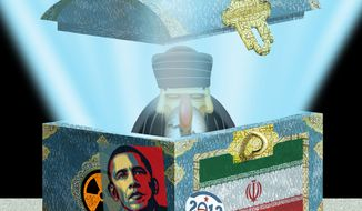 Illustration Iran likes Obama by Alexander Hunter for The Washington Times