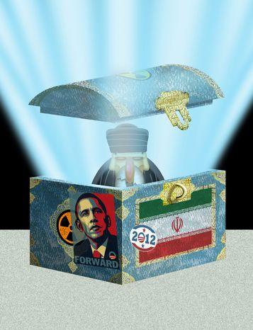 Illustration Iran likes Obama by Alexander Hunter for The Washington Times