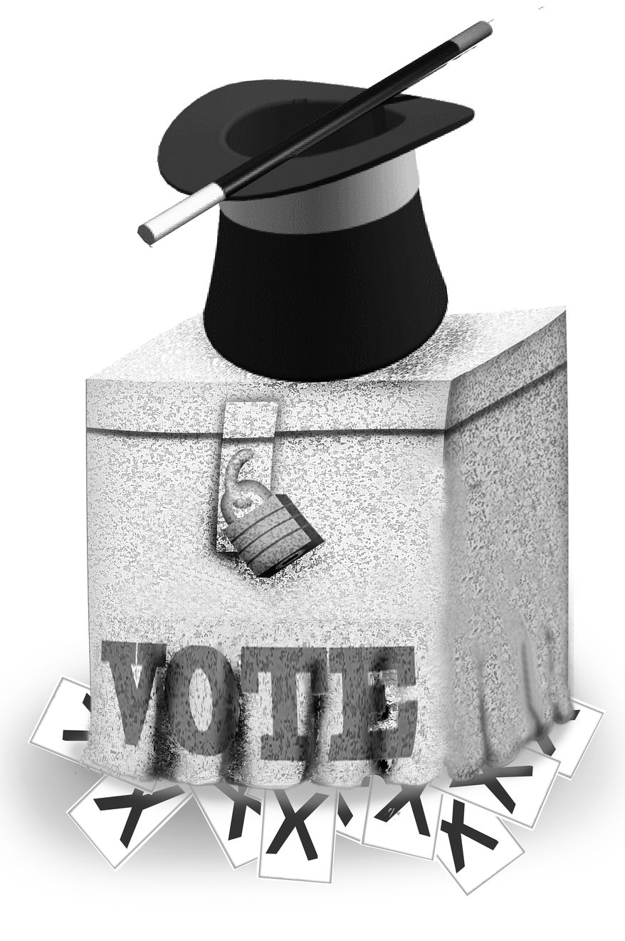 Illustration Voting Tricks by John Camejo for The Washington Times