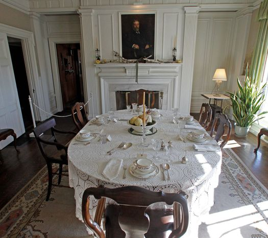 Robert Todd Lincoln, the only son of Abraham Lincoln to live to adulthood, built the Greek Revival mansion he called Hildene in Manchester, Vt., in 1905. The home served as a getaway for the family based in Illinois. Here is the dining room. (Associated Press)