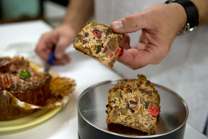 The fruitcakes made by the monks at Holy Cross Abbey in Berryville, Va. are made with two-thirds candied fruits and nuts, meaning there is less cake batter to dry out. According to bakery manager Ernie Polanskas, the monks make about 10,000 fruitcakes from January to September, and ship most of them out during the Christmas season. He says they use an old Betty Crocker recipe that they have tweaked some over the years. It includes both sherry and brandy in addition to the candied fruits and walnuts. (Barbara L. Salisbury/The Washington Times)