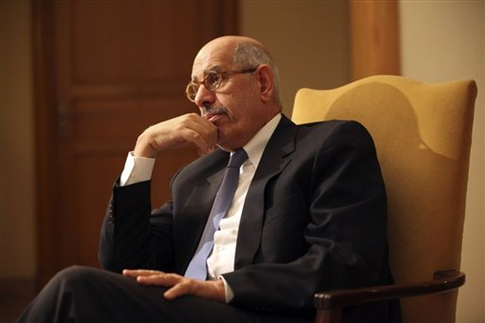 ** FILE ** Leading democracy advocate Mohammed ElBaradei, during an interview with the media at his home on the outskirts of Cairo on Saturday, Nov. 24, 2012, says dialogue with Egyptian Islamist President Mohammed Morsi is not possible until Mr. Morsi rescinds the decrees giving himself near-absolute powers. Mr. ElBaradei, a Nobel Peace laureate for his past work as the head of the U.N. nuclear agency, has formed a National Salvation Front with other liberal and secular leaders, trying to unify the opposition against Mr. Morsi. (AP Photo/Thomas Hartwell)