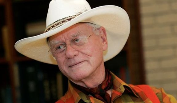 "**FILE** Actor Larry Hagman listens Oct. 9, 2008, to a reporter's question while visiting the Southfork Ranch in Parker, Texas, made famous in the television show ""Dallas."" (Associated Press)"