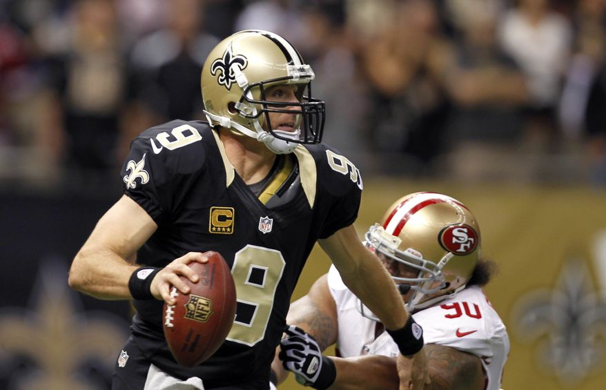 Drew Brees and New Orleans lost to San Francisco, falling even with Washington at 5-6. The Redskins defeated the Saints in Week 1, a potential tiebreaker in the NFC playoff picture. (AP Photo/Gerald Herbert)