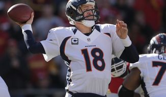 Denver Broncos quarterback Peyton Manning (18) passes during the first half of an NFL football game against the Kansas City Chiefs at Arrowhead Stadium in Kansas City, Mo., Sunday, Nov. 25, 2012. (AP Photo/Charlie Riedel)