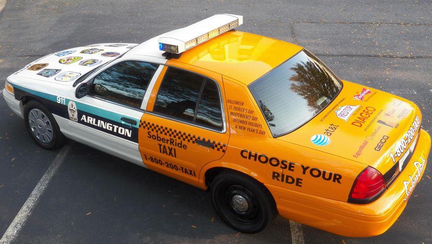 "The half taxi, half police cruiser ""Chooser Cruiser."" Photo from the Washington Regional Alcohol Program."