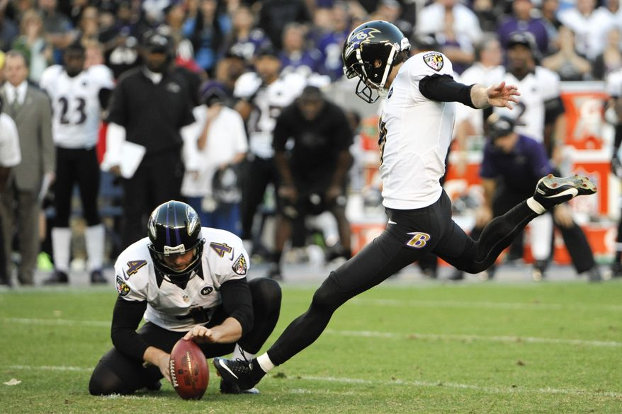 Baltimore Ravens kicker Justin Tucker kicks the game tying filed goal during the second half of an NFL football game against the San Diego Chargers Sunday, Nov. 25, 2012, in San Diego. (AP Photo/Denis Poroy)