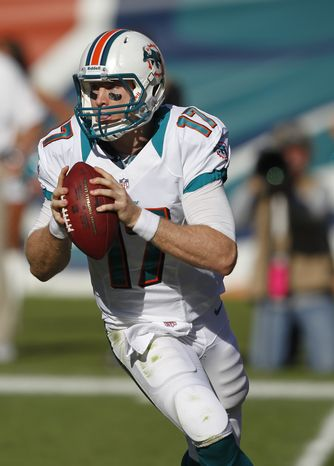 Miami Dolphins quarterback Ryan Tannehill (17)looks to pass during the second half of an NFL football game against the Seattle Seahawks, Sunday, Nov. 25, 2012 in Miami . (AP Photo/Wilfredo Lee)