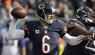 Chicago Bears quarterback Jay Cutler (6) passes against the Minnesota Vikings in the first half of an NFL football game in Chicago, Sunday, Nov. 25, 2012. (AP Photo/Nam Y. Huh)