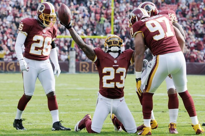 Redskins cornerback DeAngelo Hall (23) has four interceptions, part of the reason why Washington's plus-12 in turnover differential is tied for fourth in the NFL. (Associated Press)