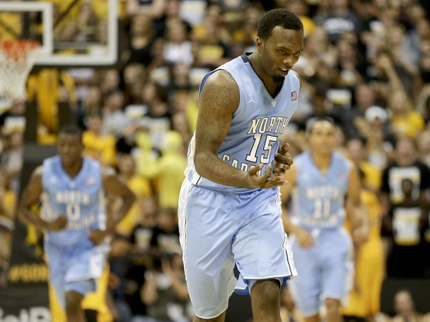 North Carolina's P.J. Hairston celebrates a basket against the Long Beach State during the second half of an NCAA basketball game in Long Beach, Calif. Friday, Nov. 16, 2012. (AP Photo/Chris Carlson)
