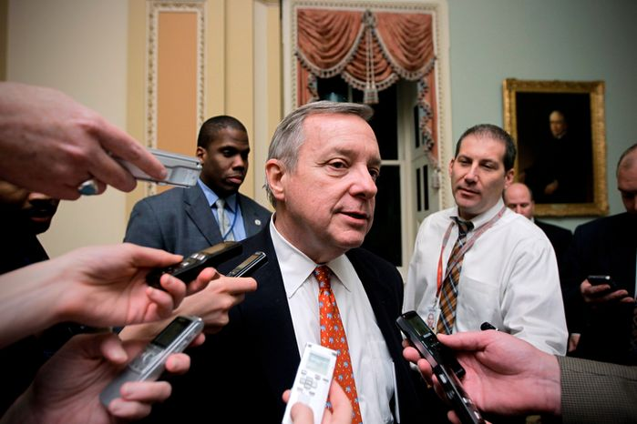 In this Dec. 16, 2011 file photo, Senate Majority Whip Richard Durbin of Ill. speaks with reporters on Capitol Hill in Washington. Florida Sen. Marco Rubio's push for a Republican version of immigration legislation could be the answer to GOP election-year prayers. The telegenic son of Cuban exiles and potential vice presidential pick is putting together a bill that would allow young illegal immigrants to study and work in the United States but still deny them citizenship. (AP Photo/J. Scott Applewhite, File)