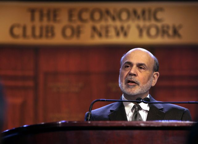 "Federal Reserve Chairman Ben Bernanke addresses a luncheon gathering of The Economic Club of New York, in New York,  Tuesday, Nov. 20, 2012.  Bernanke on Tuesday urged Congress and the Obama administration to strike a budget deal to avert tax increases and spending cuts that could trigger a recession next year. Without a deal, the measures known as the ""fiscal cliff"" will take effect in January. (AP Photo/Richard Drew)"