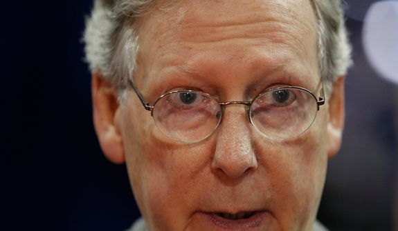 Senate Minority Leader Mitch McConnell, Kentucky Republican, talks to reporters on the floor of the Republican National Convention in Tampa, Fla., on Sunday, Aug. 26, 2012. (AP Photo/Lynne Sladky)
