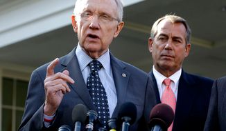 Senate Majority Leader Harry Reid (left), with House Speaker John A. Boehner, speaks to reporters outside the White House in Washington on Friday, Nov. 16, 2012, following a meeting with President Obama to discuss the economy and the deficit. Mr. Obama's re-election has stiffened Democrats' spine against cutting popular benefit programs such as Medicare and Social Security. Their new resolve could become as big a hurdle to reaching a deal for skirting economy-crippling tax increases and spending cuts in January as Republicans' resistance to raising tax rates on the wealthy. (AP Photo/Jacquelyn Martin)