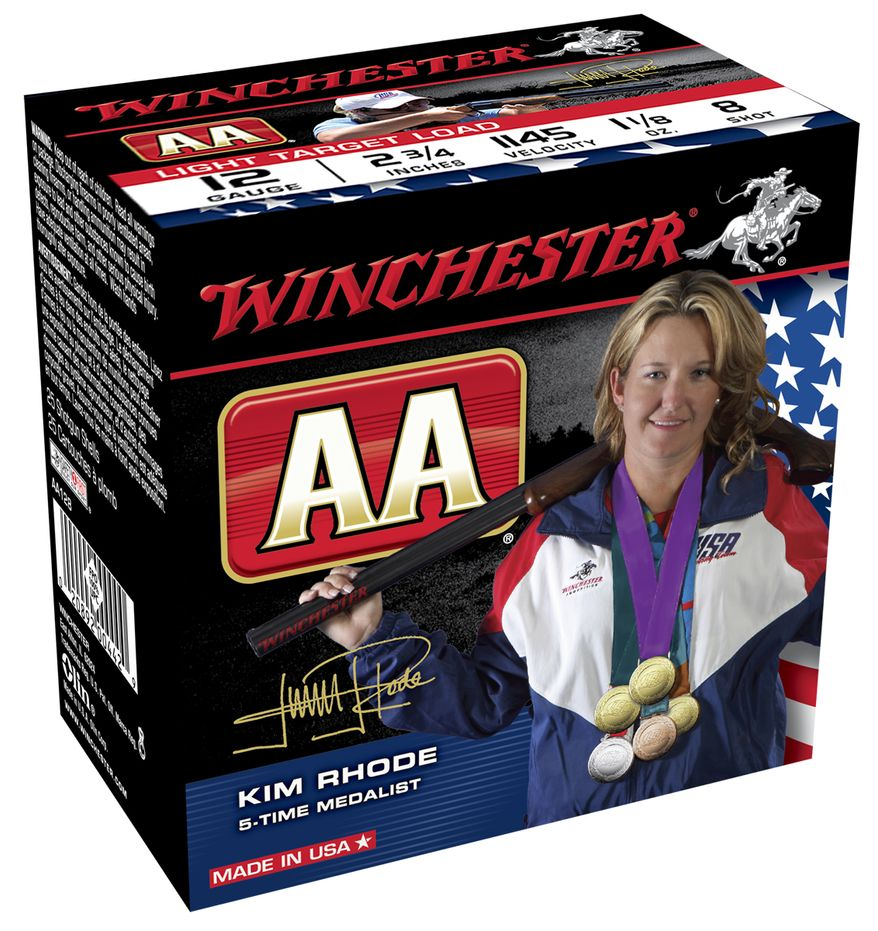 Winchester box featuring Olympian shooter Kim Rhode