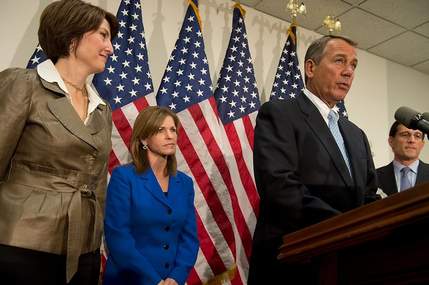 "While fellow (from left) Reps. Cathy McMorris Rodgers, Lynn Jenkins and Eric Cantor look on, Speaker of the House John Boehner speaks to the media Wednesday, Nov. 28, 2012 at the U.S. Capitol following a meeting with Republican House leadership. Speaker Boehner said he is ""confident"" that they will be able to reach agreement with the president to avoid the fiscal cliff, although he did say that he is opposed to raising taxes on the wealthy, which is part of the president's plan. (Barbara L. Salisbury/The Washington Times)"