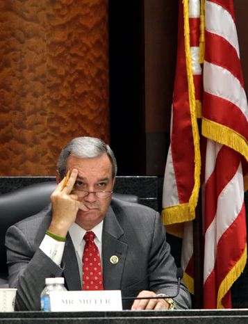 **FILE** Rep. Jeff Miller, Florida Republican, listens to testimony at a special hearing of the House Committee on Veterans' Affairs on July 13, 2010, at the Thomas Eagleton U.S. Courthouse in St. Louis. (Associated Press)