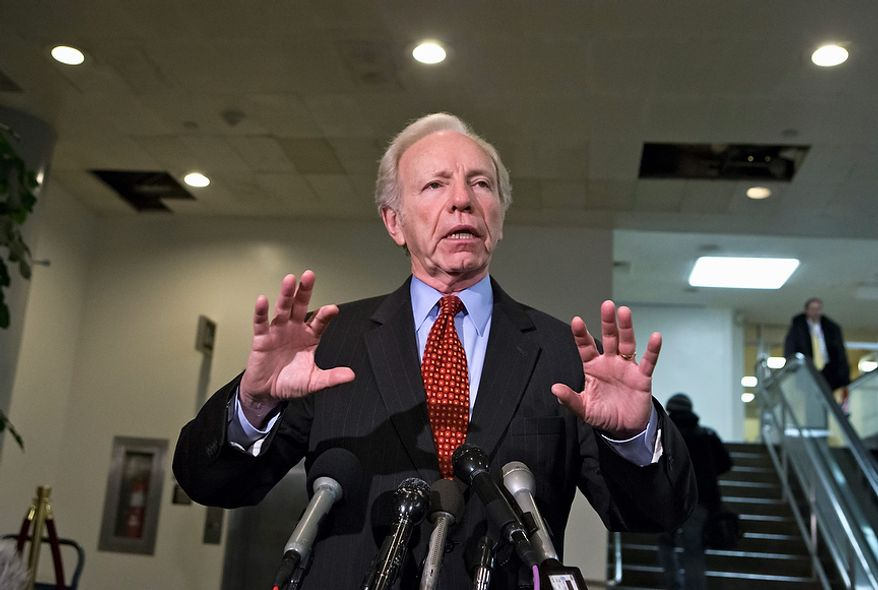 Senate Homeland Security and Governmental Affairs Committee Chairman Sen. Joseph Lieberman, I-Conn. speaks with reporters on Capitol in Washington, Tuesday, Nov. 27, 2012, following a closed meeting with UN Ambassador Susan Rice, and acting CIA Director Michael Morell. Rice is considered a likely choice to succeed Hillary Rodham Clinton as secretary of state, but she has been sharply criticized by GOP lawmakers about comments she made following the deadly Sept. 11 attack on a U.S. consulate in Libya.  (AP Photo/J. Scott Applewhite)