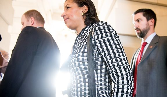 U.N. Ambassador Susan Rice leaves after meeting with Sen. Bob Corker (R-Tenn) in the Senate Visitors Center on Capitol Hill, Washington, D.C., Wednesday, November 28, 2012. (Andrew Harnik/The Washington Times)