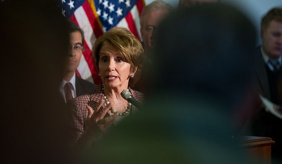 House Minority Leader Nancy Pelosi, California Democrat, speaks at a press conference in the Cannon House Office Building in Washington on Thursday, Nov. 29, 2012, to announce the party's leadership positions for the 113th Congress. Mrs. Pelosi unanimously was re-elected as Democratic leader. (Andrew Harnik/The Washington Times)