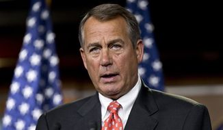 """Speaker of the House John A. Boehner, Ohio Republican, talks to reporters after private discussions with Treasury Secretary Timothy Geithner on the fiscal cliff negotiations, at the Capitol in Washington, Thursday, Nov. 29, 2012. """"No substantive progress has been made between the White House and the House"""" in the past two weeks, Boehner said. The """"fiscal cliff"""" is a combination of tax increases and spending cuts worth about $670 billion that will take effect at the start of next year unless Congress and the White House agree to postpone or replace them. (AP Photo/J. Scott Applewhite)"""